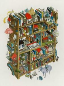 полка с книгами